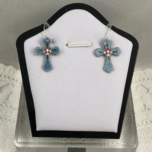 Vintage Accessories - Vintage Blue Enamel Guilloche Cross Drop Earrings